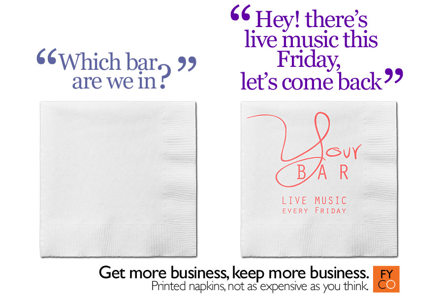 get your business noticed with printed napkins